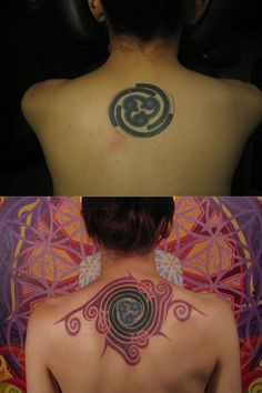 Coverup/Tattoo renovation. Top: original tattoo; bottom: finished renovation.  Tattoo by Daemon Rowanchilde.  www.urbanprimitive.com