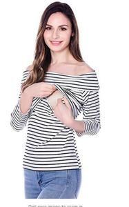Ekouaer Womens Maternity Nursing Tops Striped Short Sleeve Stitching Double Layer Breastfeeding Tee Shirt Pregnancy Clothes