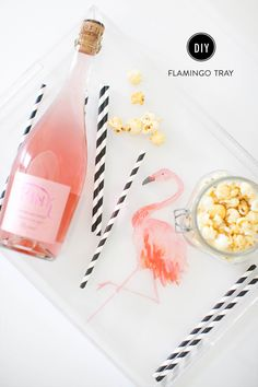 DIY flamingo tray: http://www.stylemepretty.com/living/2015/09/11/diy-flamingo-tray/