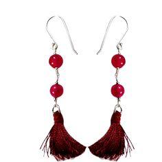 Silvesto india red quartz gemstone 925 sterling silver bead tassel earring pg-18111   https://www.amazon.de/dp/B01E8RODGW
