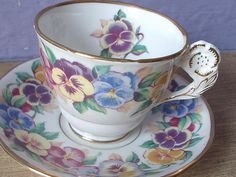 RARE Antique English tea cup and saucer set, Royal Stafford flower handle tea cup, pansies bone china tea cup