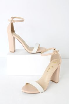 No one does it quite like the Taylor Nude and White Color Block Ankle Strap Heels! Cute nude ankle strap heels with a white slender toe strap. Ankle Strap Heels, Ankle Straps, White Block Heels, White Toes, Wedding Shoes Heels, Nude Shoes, Vegan Leather, Vegan Friendly, Quinceanera