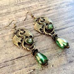 Fantasy Dragon Earrings #SteampunkEarrings #GearTeardropBeads #Jewelry #Jewellery #Dragons #DragonJewelry #DragonJewellery #FantasyEarrings #Earrings #Etsy #EtsyShop