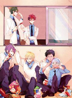 Kuroko no basuke - I'm not sure why they are hiding from Akashi and Midorima...