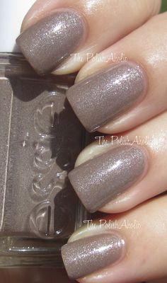 Essie Mochaccino is taupe-y brown with a strong silver shimmer