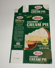 1970's JELL-O Coconut Cream Pie Dessert Box General Foods