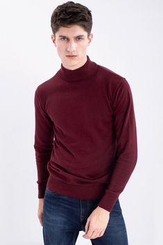 Fast Fashion Brands, Red Turtleneck, Cotton Jumper, Mens Jumpers, Clothes Crafts, Men Fashion, Rib Knit, Knitwear, Casual Outfits