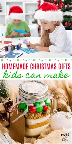 Homemade gift giving can take the stress out of shopping for gifts. These Homemade Christmas Gifts Kids Can Make teach kids that the best gifts don't have to cost a lot, they just have to be given in love. gift for teens Christmas Activities For Kids, Easy Christmas Crafts, Homemade Christmas Gifts, Christmas Gifts For Kids, Simple Christmas, Homemade Gifts, Diy Gifts, Crafts For Kids, Christmas Recipes