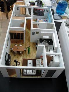 CR/ Estudio de Arquitectura.: Maqueta de Departamentos 3d House Plans, 2 Bedroom House Plans, Small House Plans, Sims 4 House Design, Small House Design, Maquette Architecture, Interior Architecture, Apartment Layout, Barbie House