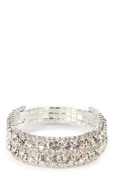 Deb Shops 2 Row Rhinestone Stretch Bracelet $8.40