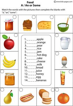 Food - A/An, Some worksheets