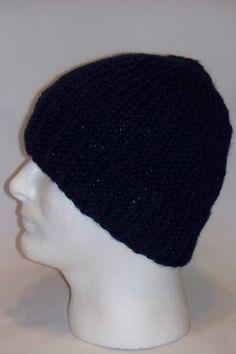 Warm Winter Beanie Hat  Navy Blue Mens Hat by lousknittingroom