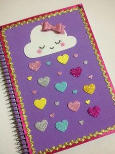 Escuela Foam Crafts, Preschool Crafts, Crafts For Kids, Paper Crafts, Notebook Cover Design, Notebook Covers, Handmade Books, Handmade Art, File Decoration Ideas