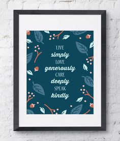 Free Download (1week only) Week 3 : Design Days - Words to Live By. Woodland illustration with quote