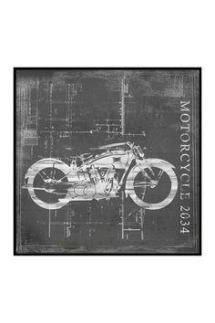 Motorcycle I Inverse Framed Giclee on Paper
