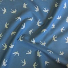 Swooping Swallows Blue Cotton Fabric - Guthrie & Ghani Silver Color Palette, Swallows, Blue And Silver, Cotton Fabric, Bridesmaid Dresses, Amp, Sewing, Bridesmade Dresses, Dressmaking
