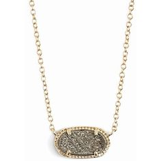 Kendra Scott 'Elisa' Pendant Necklace ($65) ❤ liked on Polyvore featuring jewelry, necklaces, platinum drusy, druzy pendant necklace, drusy pendant, kendra scott jewelry, 14 karat gold necklace and kendra scott necklace