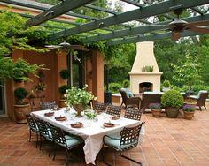 Home Decor patio pergola fire-feature インテリア実例 パティオ/中庭 パーゴラ 暖炉/窯