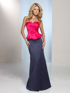 Two-piece satin dress set, strapless directionally ruched crisscross bodice with notched neckline and peplum, separate slim A-line skirt with back slit. Removable straps included. Color Shown: Calypso/Ink. Available in all satin colors. Sizes: 0 – 28