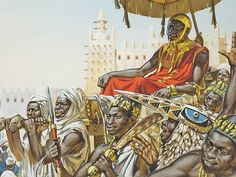 Mansa Musa the 14th century emperor of the West African kingdom of Mali. Artwork by Angus McBride.
