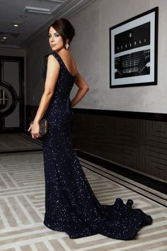 Mermaid Cap Straps Dark Navy Sequins Prom Dress