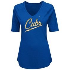 Women's Chicago Cubs Majestic Royal 2017 Gold Program Script T-Shirt