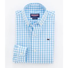 Boys Sport Shirts: Whale Collection: Sandy Point Gingham Shirt -... ($35) ❤ liked on Polyvore featuring tops, shirts, oxford and vineyard vines