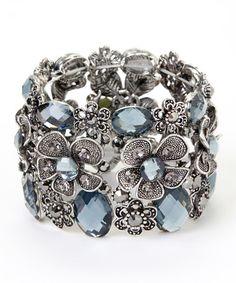 Look at this #zulilyfind! Silvertone & Gray Floral Stretch Bracelet #zulilyfinds