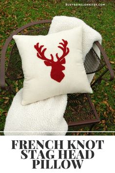 French Knot Stag Head Pillow - The look and texture of this French Knot Stag Head Pillow is divine! And you can recreate it for yourself! Stag Head, Christmas Stockings, Knots, Brain, Friday, Diy Projects, Throw Pillows, French, Crafty