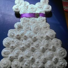 Bridal Wedding Gown Shower Cupcake Cake - this would be cute for a princess party, tooo