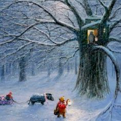 Winnie the Pooh Artwork Peter Ellenshaw Limited Edition Giclee on Canvas Winter in the Wood Winnie The Pooh Quotes, Winnie The Pooh Friends, Disney Winnie The Pooh, Walt Disney, Disney Love, Disney Art, 100 Acre Wood, Hundred Acre Woods, Winter Images