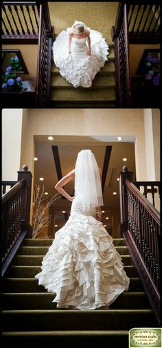 Bridal portraits on a staircase are classic and dramatic. Beautiful location, too! | Osthoff Resort, Elkhart Lake, Wisconsin | Wedding Photo Ideas | Reminisce Studio by Miranda & Adam