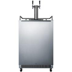 Built In Dual Faucet Beer Dispenser Stainless Steel Door