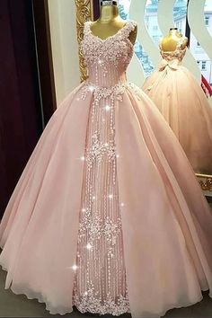 Fabulous Tulle & Organza V-neck Neckline Floor-length Ball Gown Quinceanera Dresses With Beaded Lace,prom dress Xv Dresses, Quince Dresses, Fashion Dresses, Prom Dresses, 15 Quinceanera Dresses, Pretty Dresses, Beautiful Dresses, Pink Dress, Lace Dress