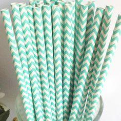 Aqua Chevron Paper Straws from The Sugar Diva