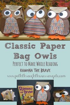 Paper bag owls are classic fall crafts made of common and inexpensive supplies and simple enough for kindergarteners with basic cutting skills. In spite of inexpensive supplies and simplicity to make, these paper bag owls turn out really cute Fall Crafts For Kids, Toddler Crafts, Crafts To Make, Easy Crafts, Art For Kids, Arts And Crafts, Paper Bag Crafts, Owl Crafts, Animal Crafts