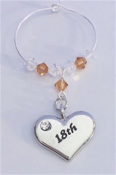 This beautiful gift for an Birthday - This Wine Glass Charm is made with a silver plated heart encrusted with a diamante and engraved with - finished with Topaz and Clear Swarovski Crystals. Perfect gift for a November birthday using Topaz S. November Birthday, Crystal Gifts, Wine Glass Charms, Organza Bags, Bag Making, Birthstones, Topaz, Silver Plate, Swarovski Crystals