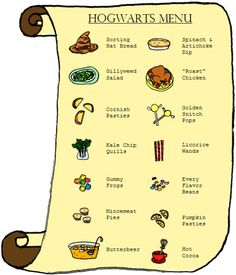 HP Menu- @Kaitlin Howell, we'll be feasting on this (or some alternate versions of this) at the HP marathon with your grandlittles.