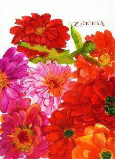 flower painting in pinks, reds, oranges by Rebecca Bradley Watercolor Flowers, Watercolor Paintings, Art Clipart, Zinnias, Flower Art, Illustration Art, Artsy, Artwork, Lilla Rogers
