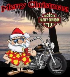 "Message inside reads: ""Merry Christmas and a Happy New Year"". Harley Davidson Quotes, Harley Davidson Motorcycles, Christmas Humor, Christmas Greetings, Christmas Beer, Christmas Stuff, Emoji, Christmas Cards, Merry Christmas"