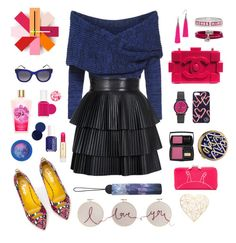 """""""/Blue&Pink/"""" by pwdee on Polyvore featuring Charlotte Olympia, Chanel, Eddie Borgo, Marc by Marc Jacobs, Louis Vuitton, DKNY, Draper James, Thierry Lasry, Essie and Paul & Joe"""