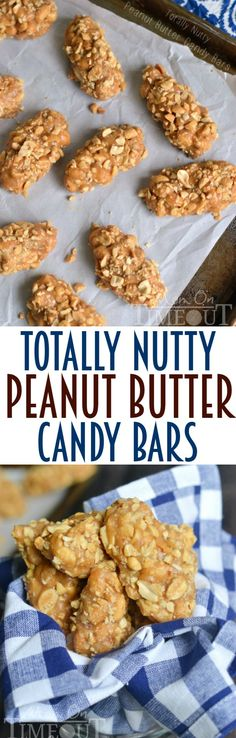No-Bake, Easy, 4 Ingredient Totally Nutty Peanut Butter Candy Bars - Packed with protein, only four ingredients, super easy dessert recipe, and out of this world peanut flavor – these Totally Nutty Peanut Butter Candy Bars are going to knock your socks off! (Think PayDay candy bars!)   MomOnTimeout.com