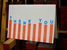 Thank You stripes letterpress note cards by powerandlight on Etsy, $15.00