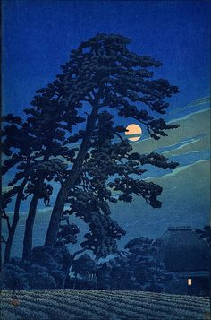 Moon at Megome' (1930) woodblock print by Hasui Kawase
