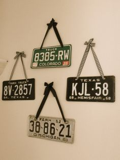 old license plates Could use in Matthew's room (when he has his own).