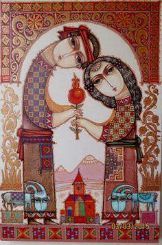 Armenian Art by Tsolak Shahinyan Pomegranate Art, Iranian Art, Turkish Art, Jewish Art, Arte Popular, Naive Art, Islamic Art, Amazing Art, Folk Art