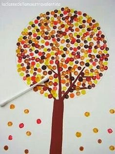Children's art: trees made with dotting cotton buds