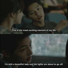 Descendants of the Sun First date, movie flirting. Korean Drama Funny, Korean Drama Series, Korean Drama Quotes, Desendents Of The Sun, Song Joong Ki Birthday, Song Joon Ki, My Love From Another Star, Songsong Couple, Kdrama Memes