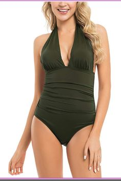 e24608da8a6 Hilor Women's Plunge Deep V Neck One Piece Swimsuit Halter Bikinis  Monokinis Shirred Details One piece