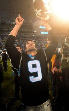 Carolina Panthers kicker Graham Gano gives thanks after kicking the winning field goal to defeat the Indianapolis Colts 29-26 on Tuesday, November 3, 2015 at Bank of America Stadium in Charlotte, NC.
